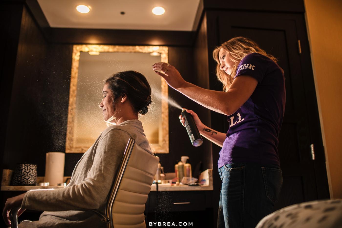 Baltimore wedding bride getting hair done by Megan Gassman