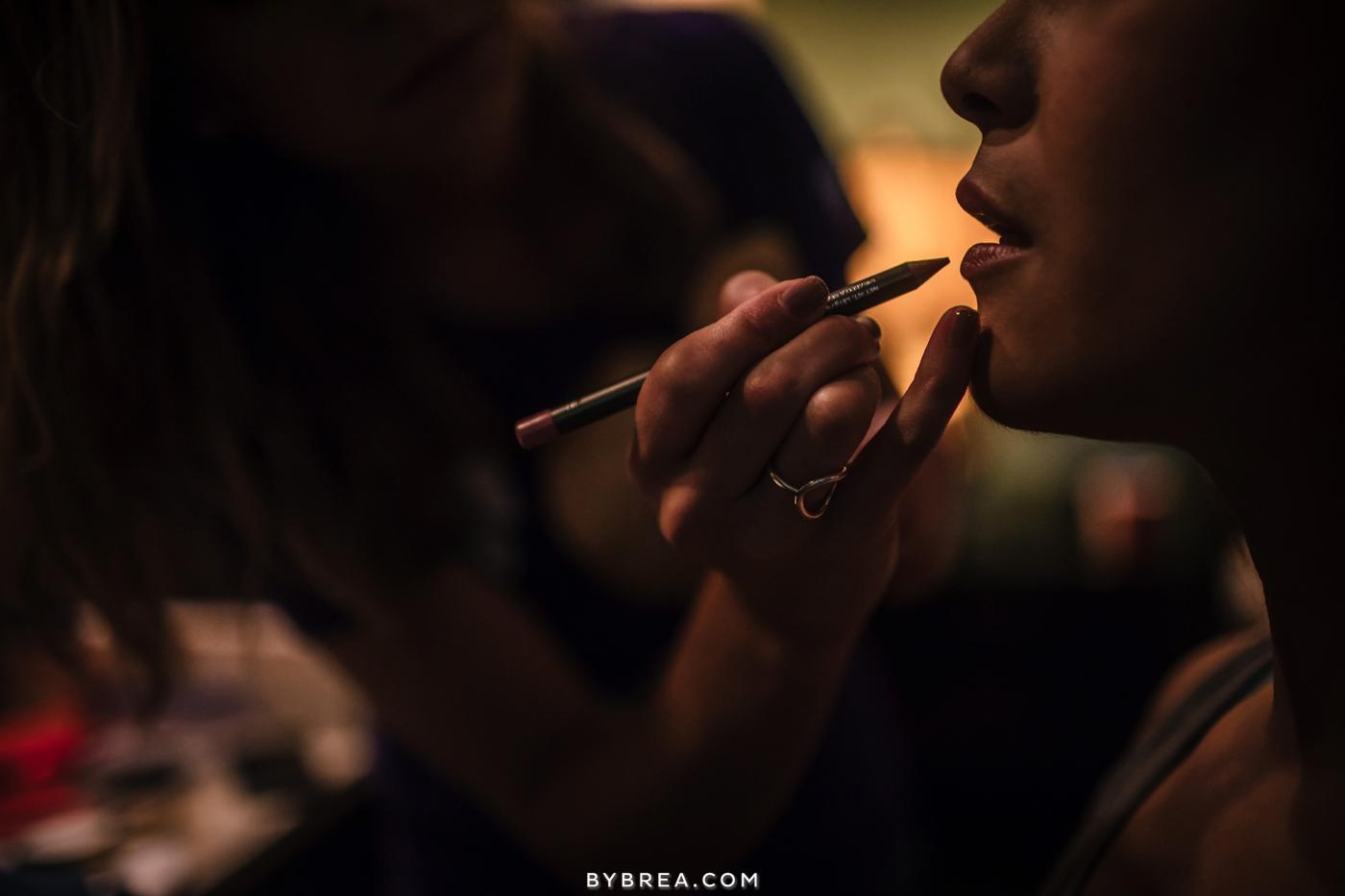 Baltimore wedding getting ready photo make up lip pencil