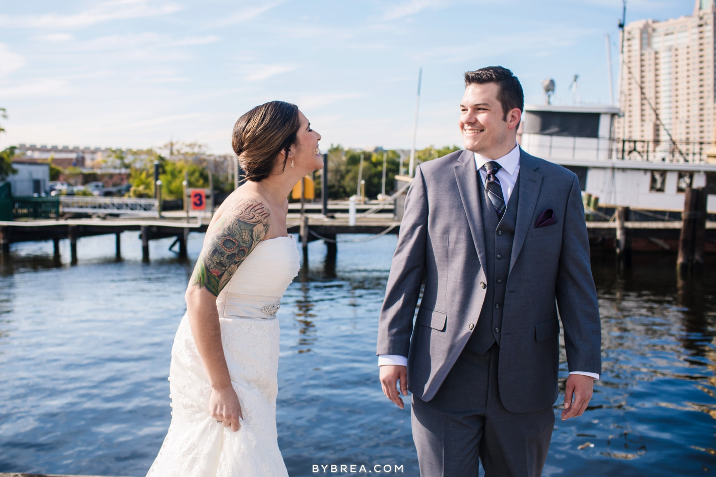 Baltimore wedding photo first look on a pier