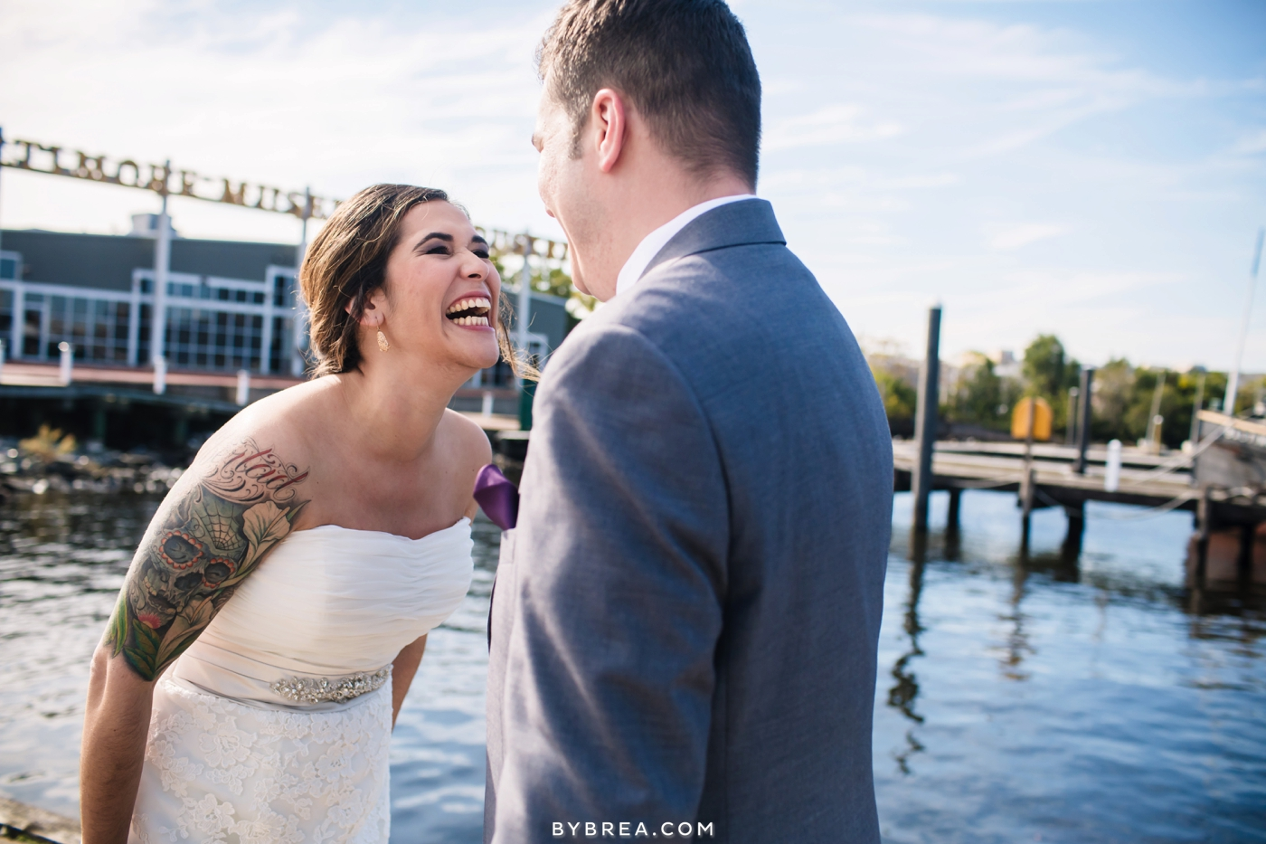 Baltimore Museum of Industry wedding photo first look
