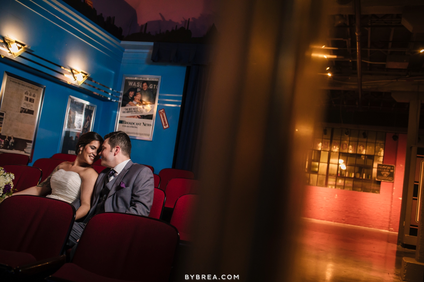 Baltimore Museum of Industry wedding photo theater portrait
