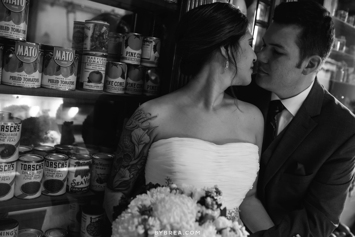 Baltimore Museum of Industry wedding photo portrait with cans