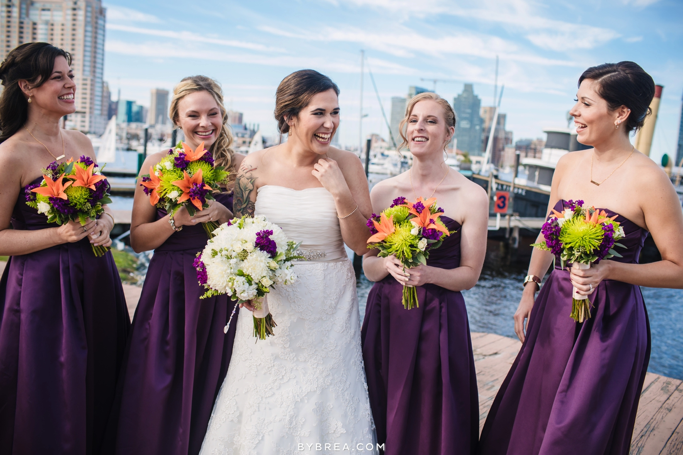 Baltimore wedding photo bride and bridesmaids