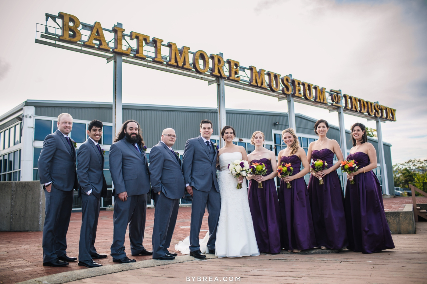 Baltimore Museum of Industry wedding photo bridal party