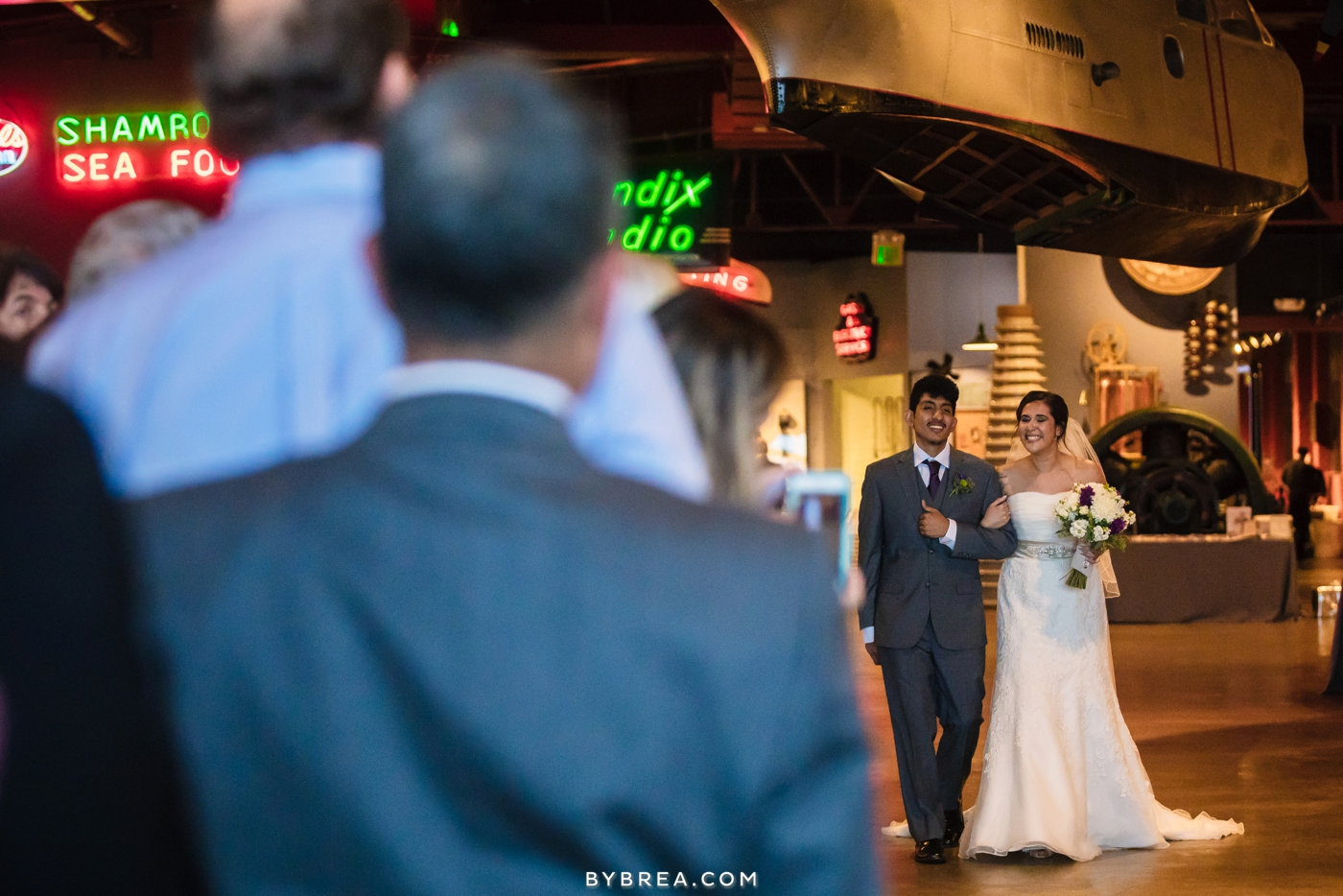 Baltimore Museum of Industry wedding bride walking down aisle