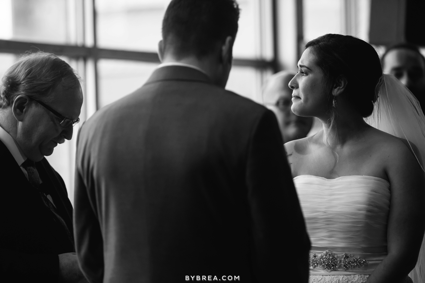 Baltimore wedding photo bride crying during ceremony