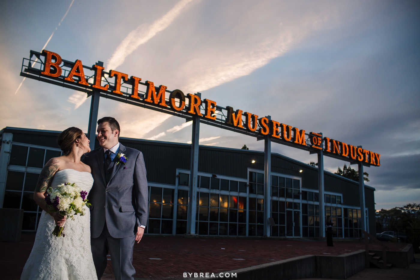 Baltimore Museum of Industry wedding bride and groom sunset