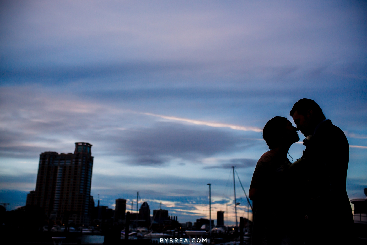 Baltimore wedding photo bride and groom sunset silhouette