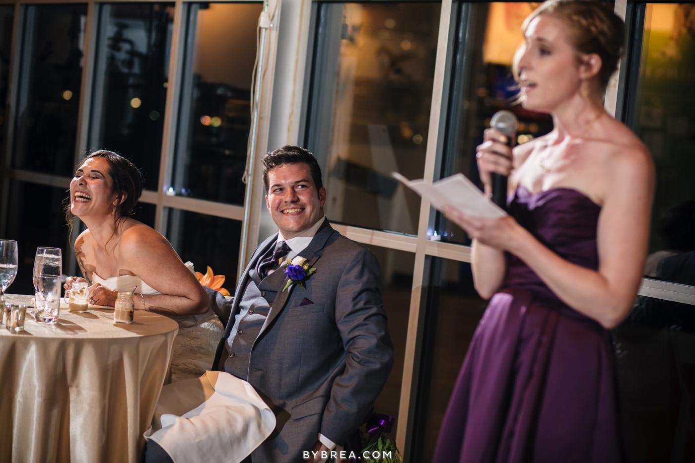 Baltimore wedding photo bride laughing during toast