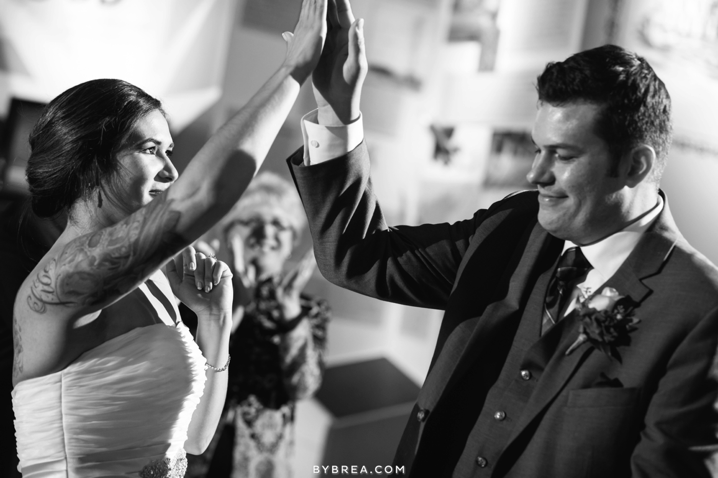 Baltimore wedding photo bride and groom high five