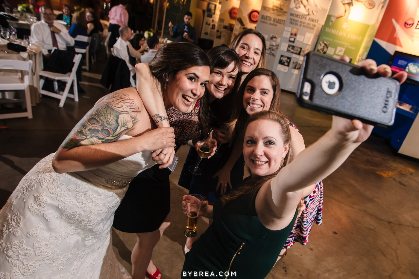 Baltimore wedding photo bride and friends taking a selfie