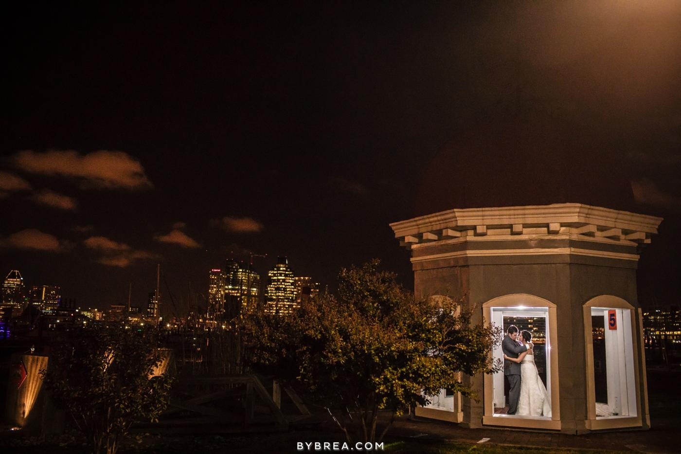 Baltimore wedding photo bride and groom under gazebo at night