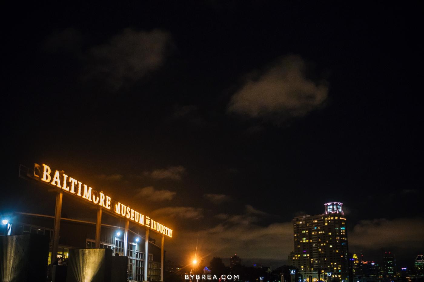 Baltimore Museum of Industry wedding photo skyline at night