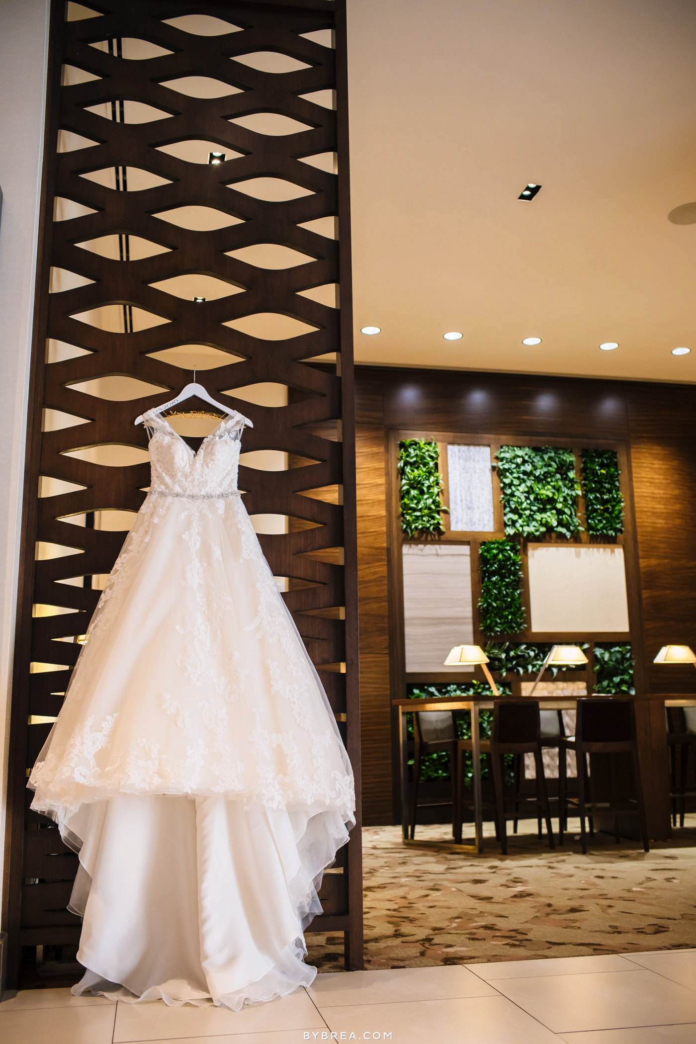 Baltimore wedding photo hanging dress by Maggie Sottero