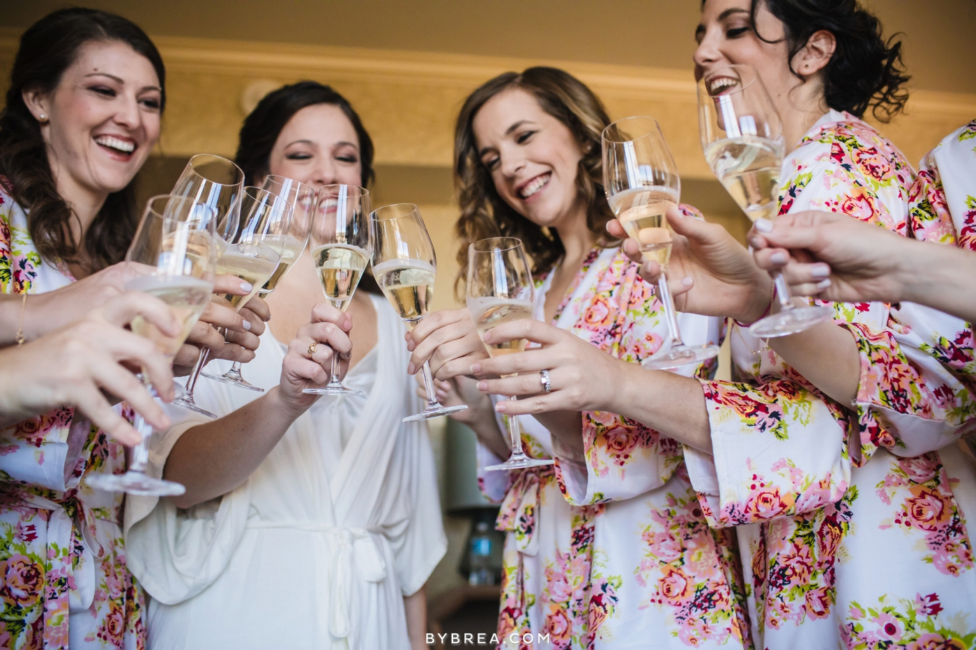 Baltimore wedding bride and bridesmaids champagne toast