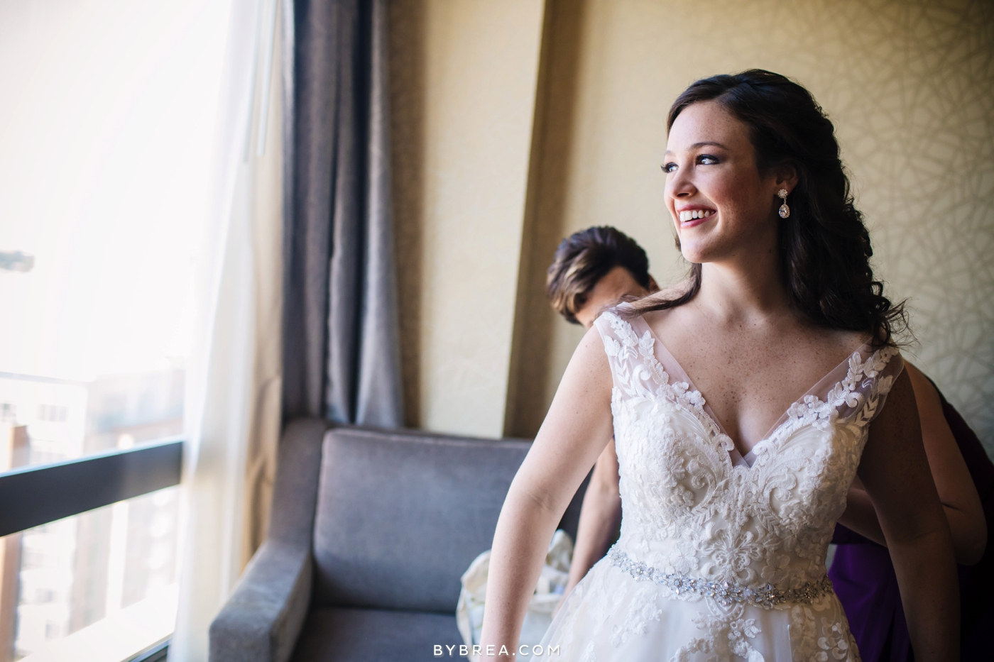 Georgetown Dahlgren Chapel bride looking out the window