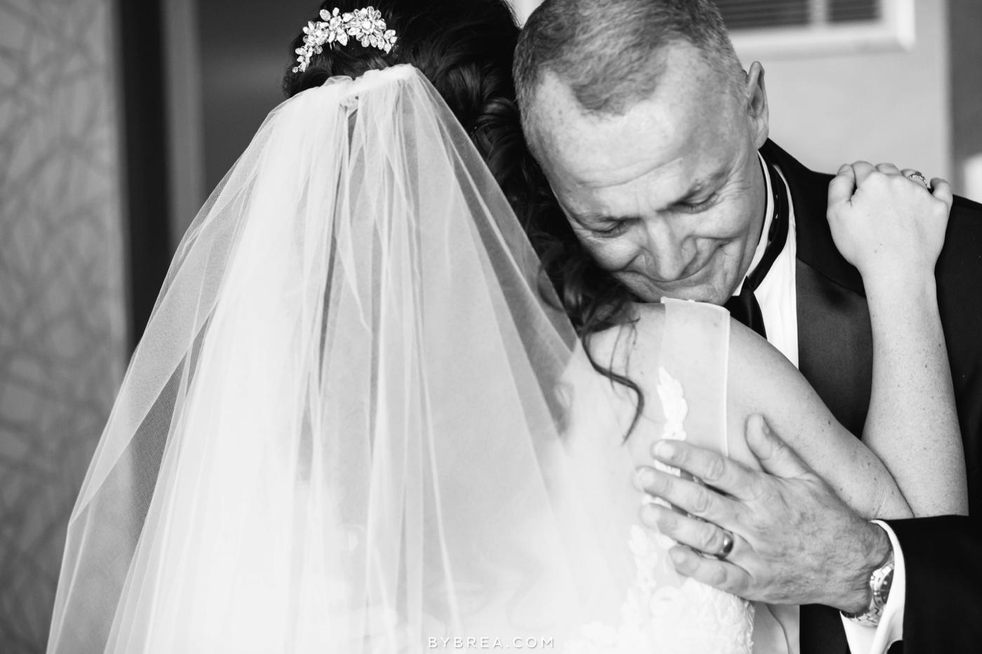 Baltimore wedding photo father hugging the bride