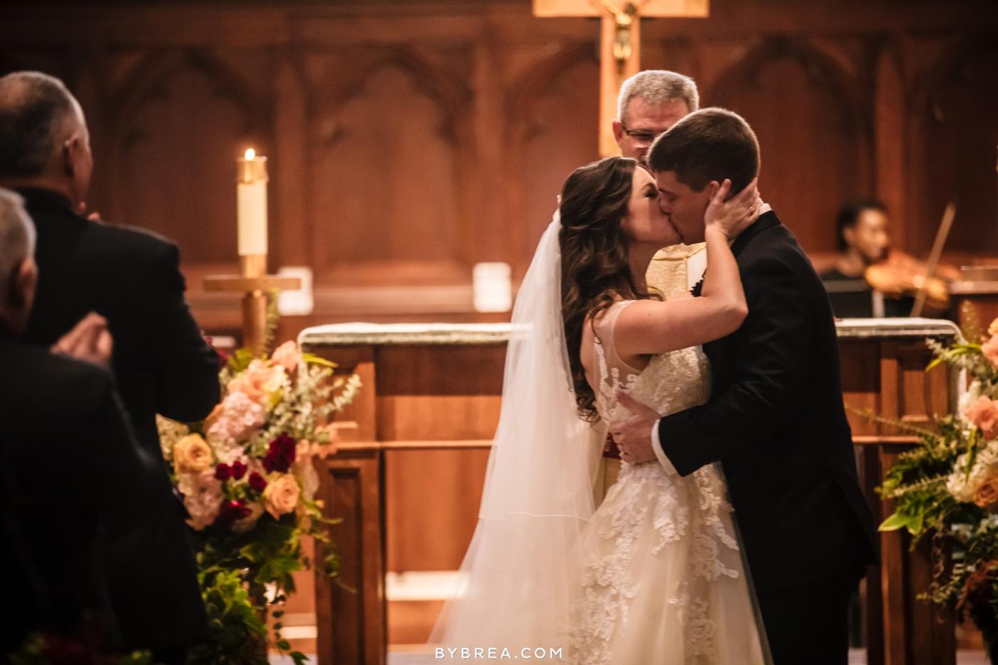 Dahlgren Chapel wedding first kiss as man and wife