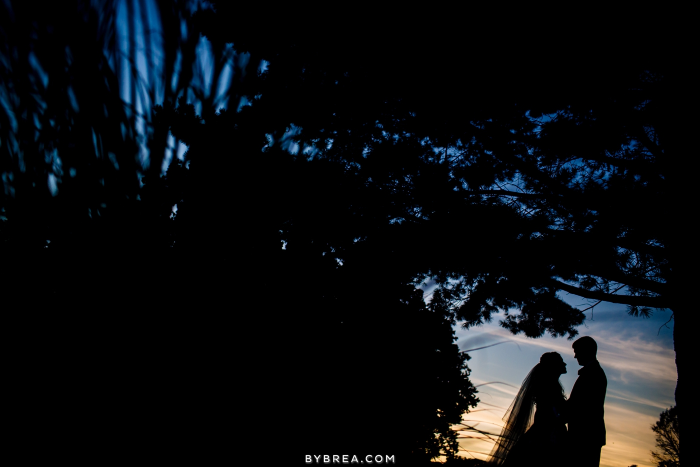 Baltimore wedding silhouette at sunset bride and groom