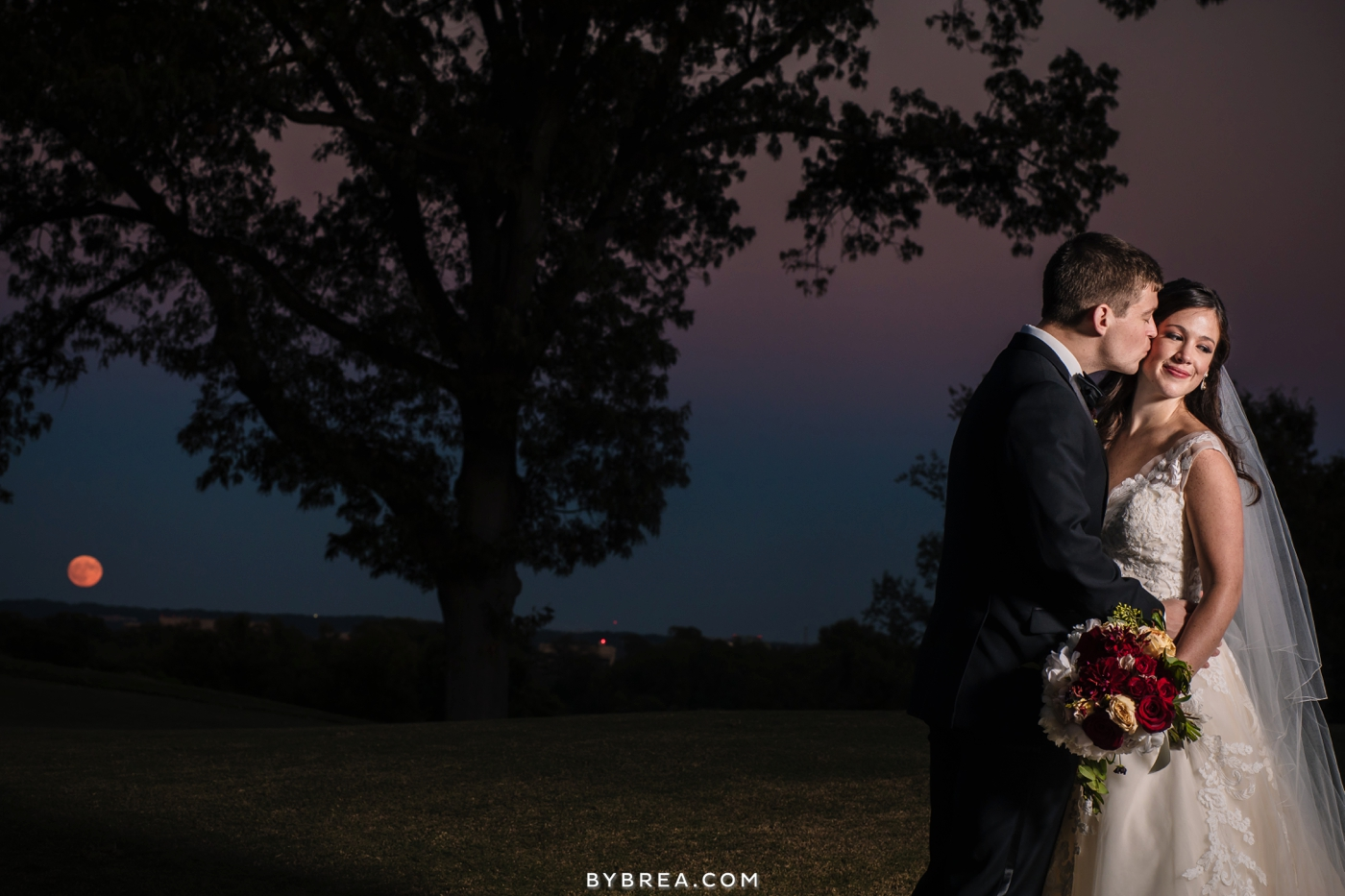 Baltimore wedding night portrait with the moon