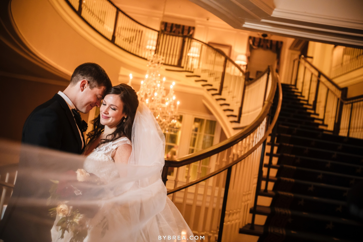 Army Navy Country Club wedding bride and groom on stairs