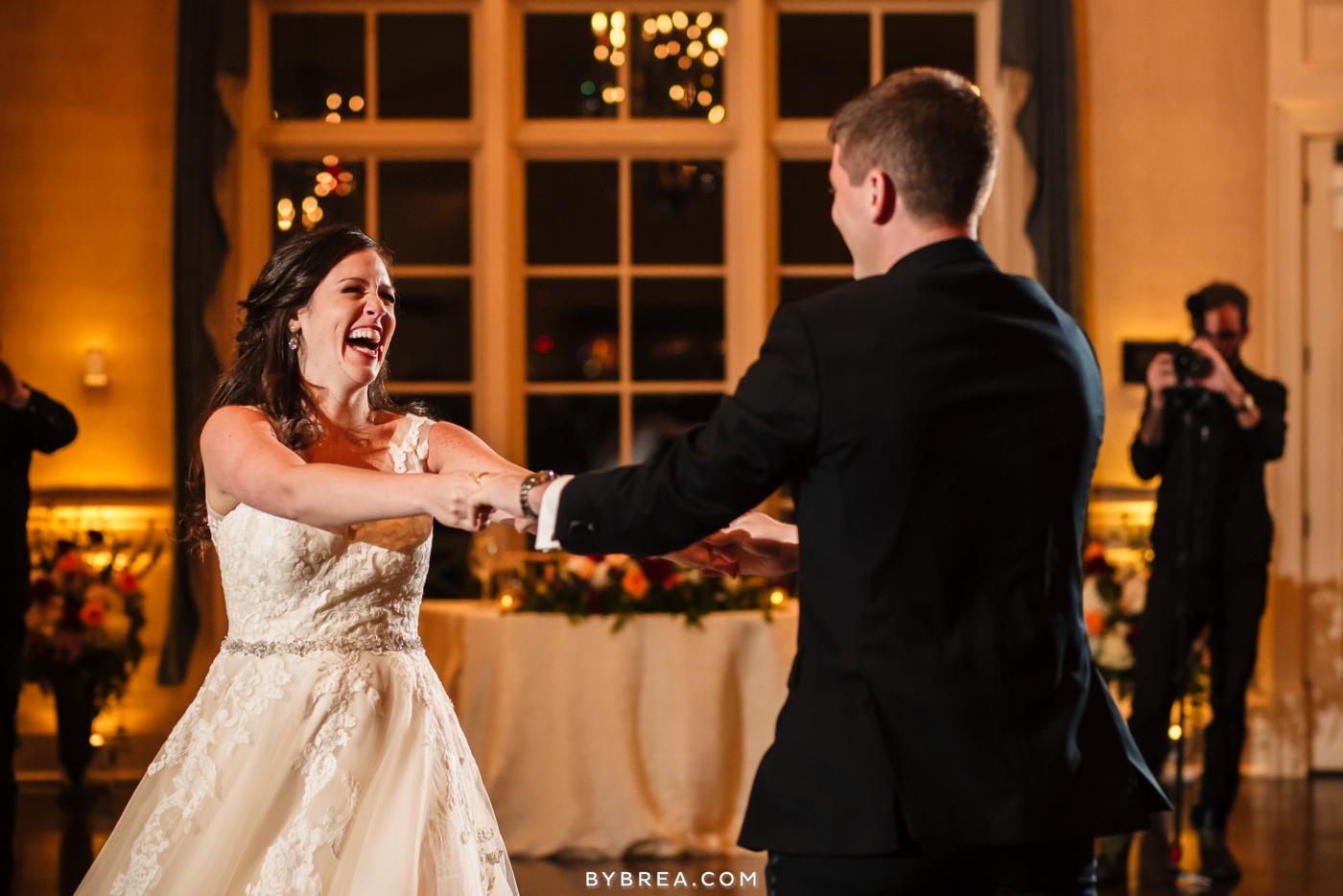 Baltimore wedding bride laughing during first dance