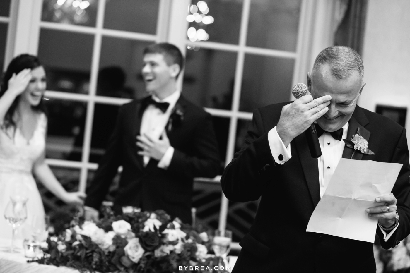 Baltimore wedding father laughing while giving the toast