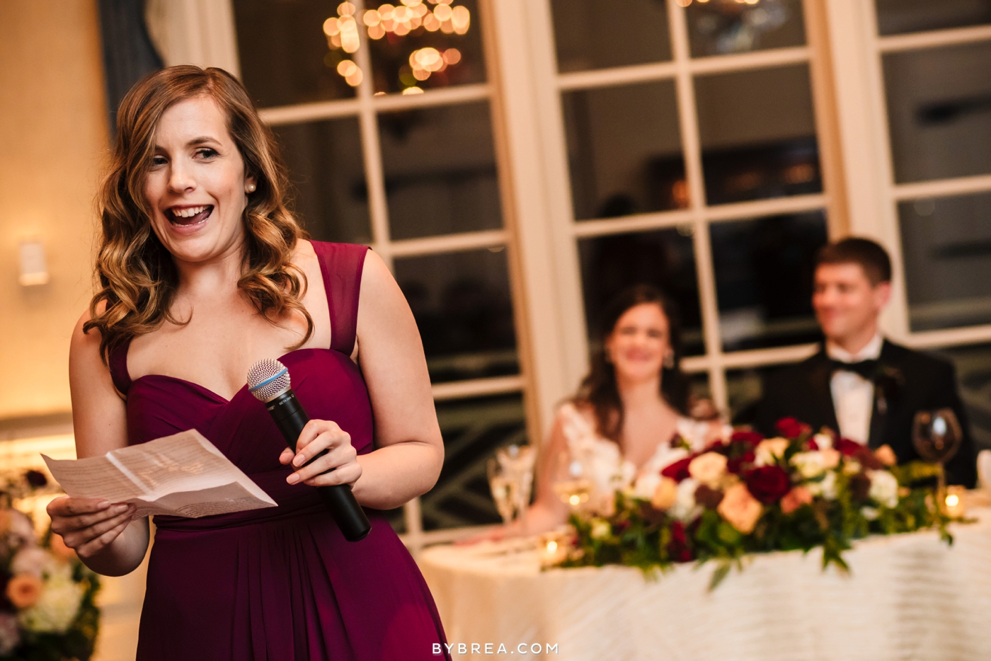 Baltimore wedding photo maid of honor giving toast