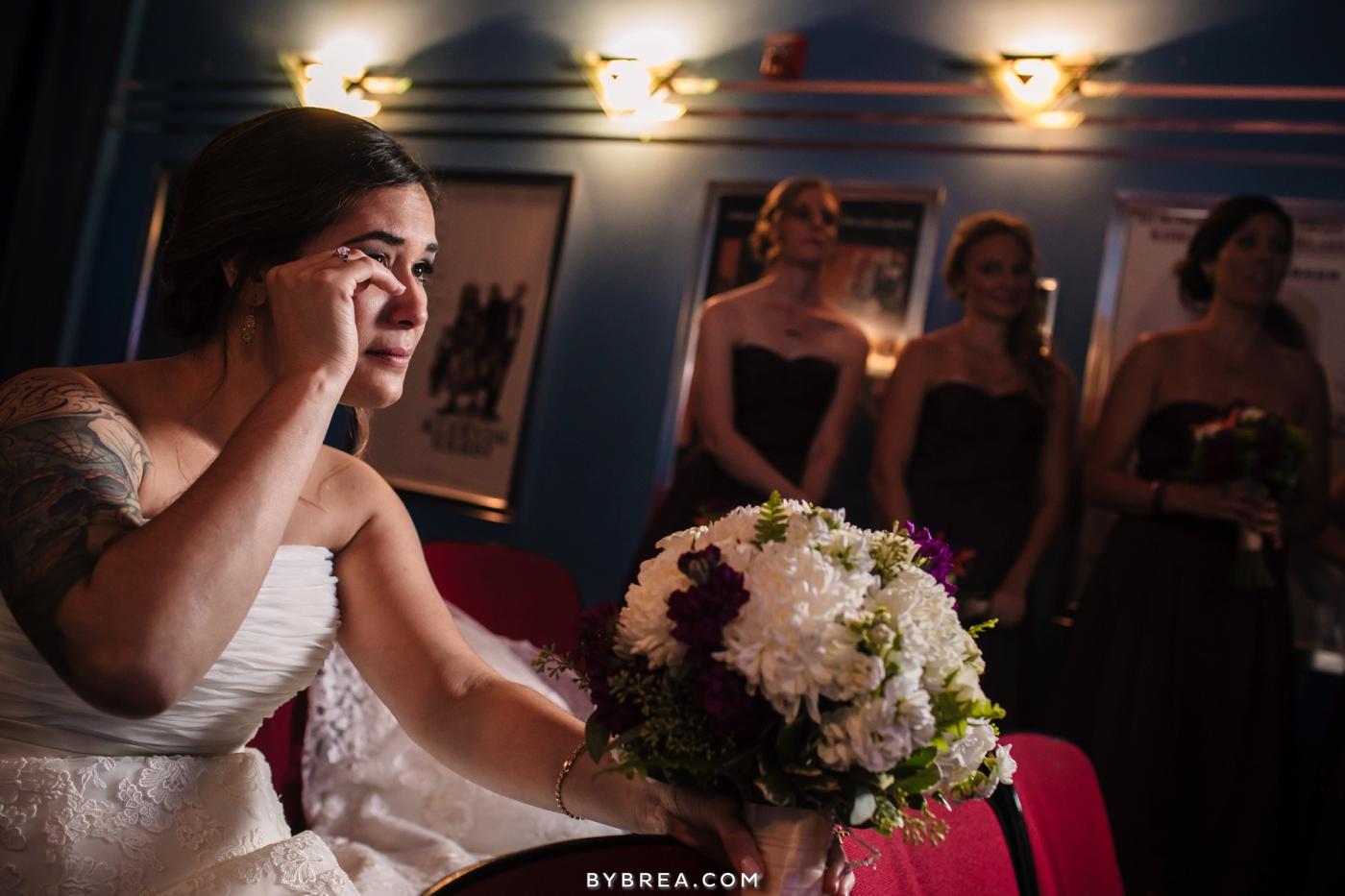 Baltimore wedding photo bride wiping tears