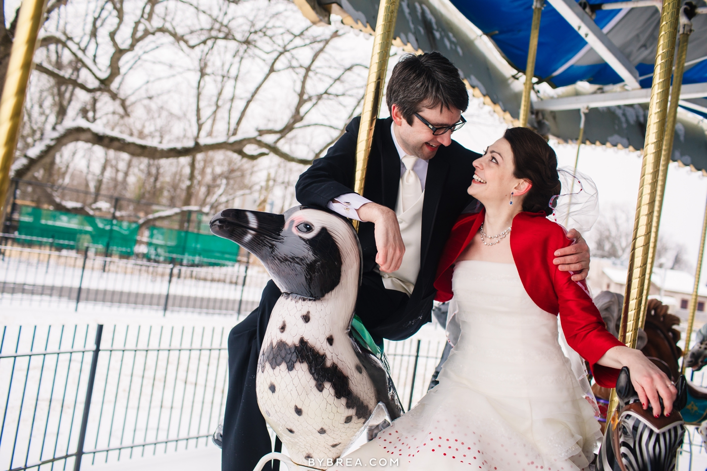 Maryland Zoo In Baltimore Wedding Photo Bride And Groom Riding Carousel