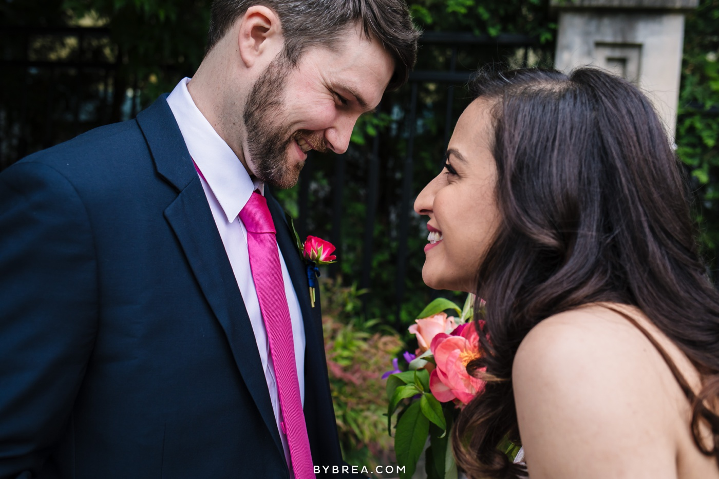 George Peabody Library wedding photo bride and groom smiling first look