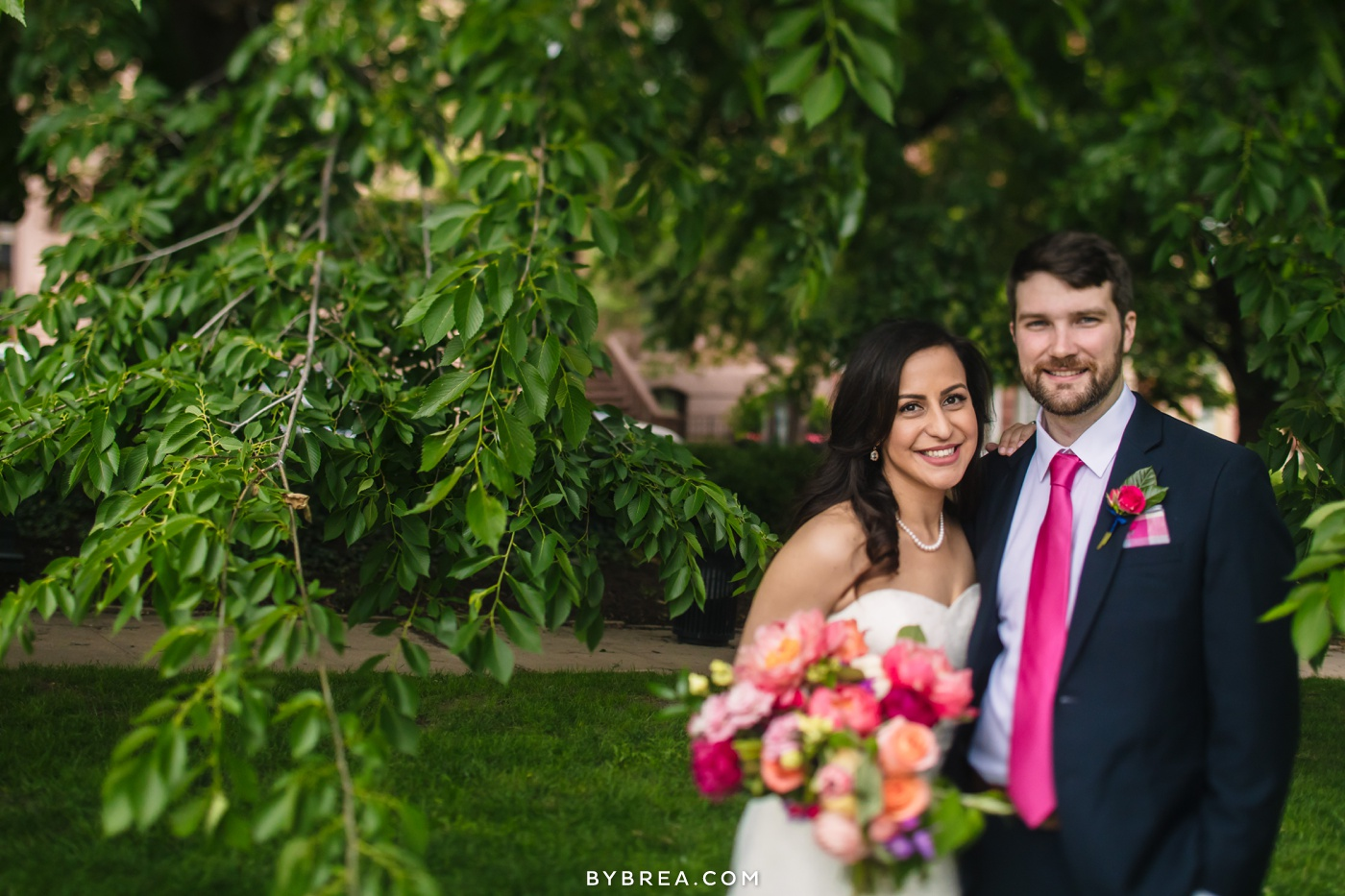 George Peabody Library wedding photo bride and groom portrait bouquet by The Floral Studio