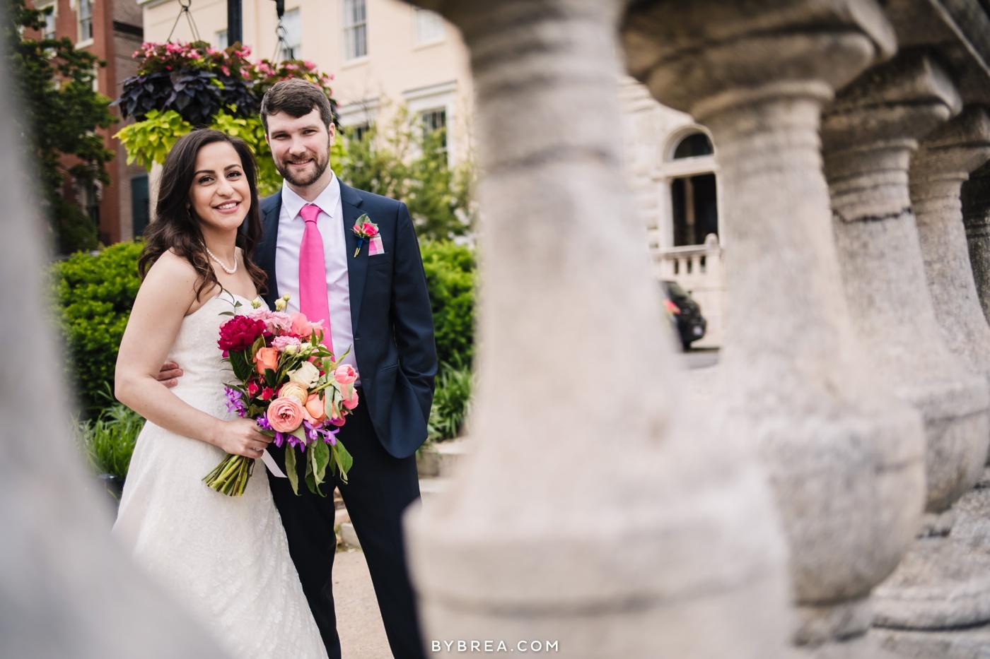 Baltimore wedding photo couple portrait bridal bouquet by The Floral Studio