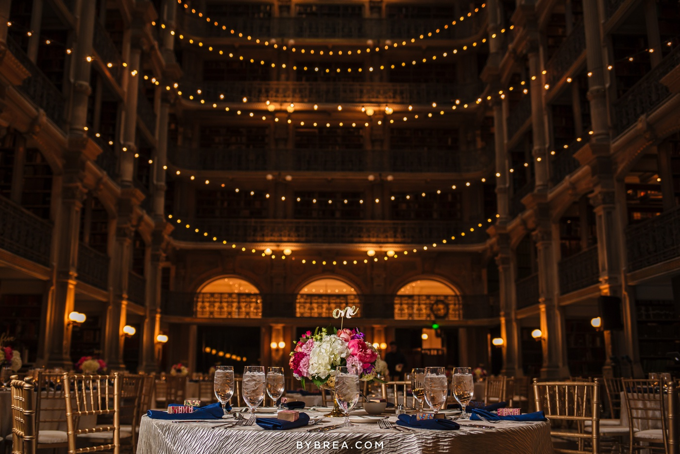 George Peabody Library wedding photo reception dinner tables