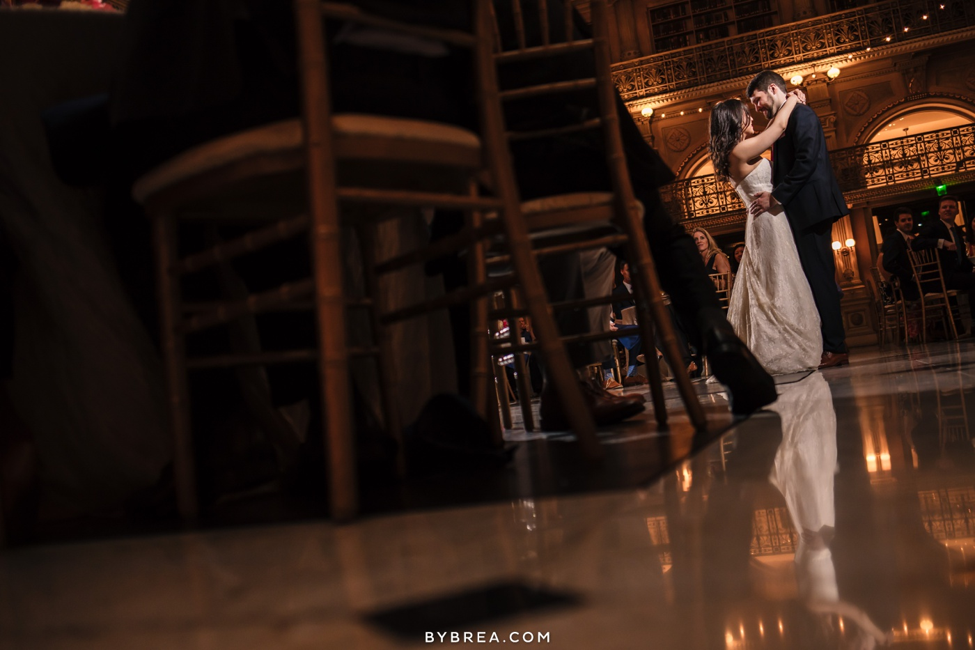 George Peabody Library wedding photo bride and groom first dance