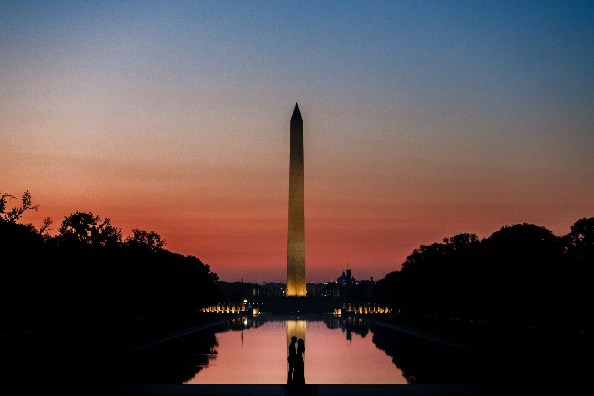 Washington Monument Engagement Silhouette Photo