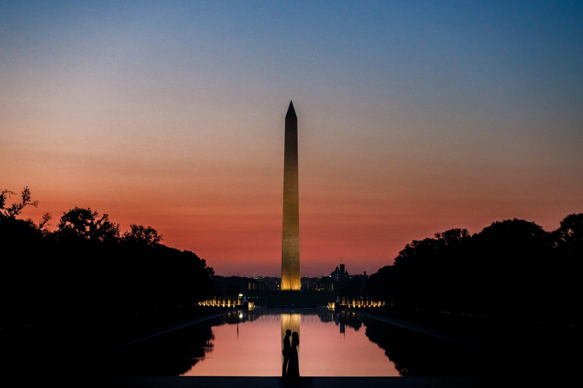 Washington Monument Engagement Silhouette Photo