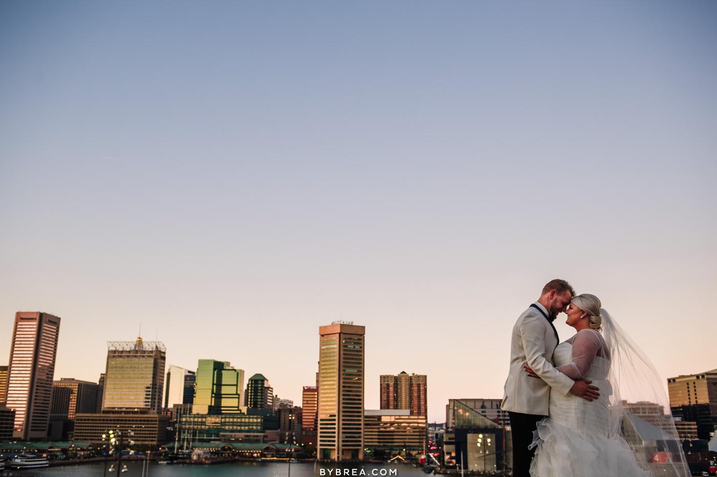 Couples portraits Inner Harbor Baltimore wedding