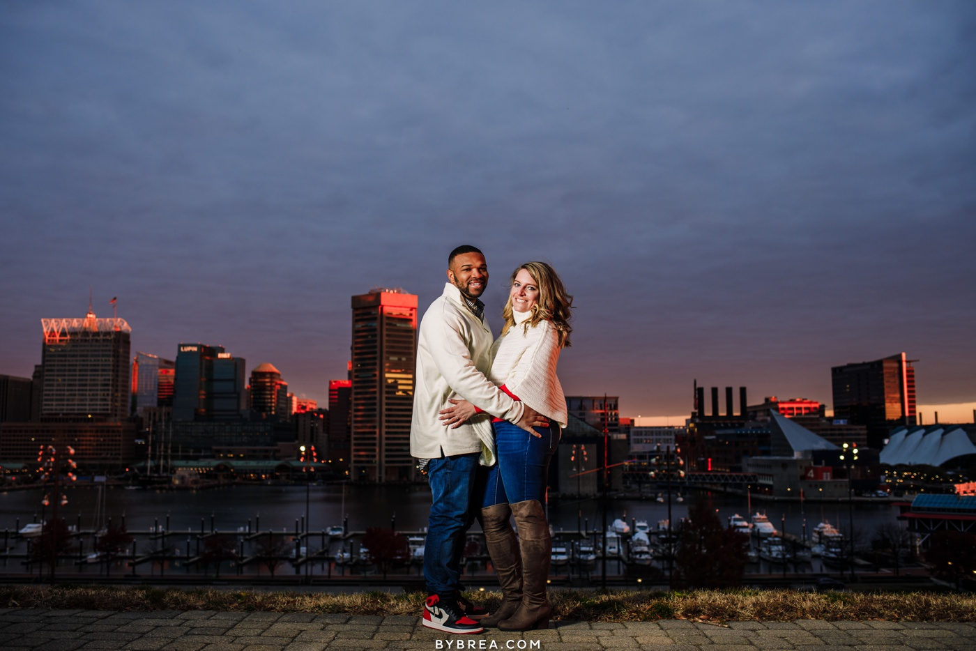 Photograph of engagement shoot Inner Harbor Baltimore