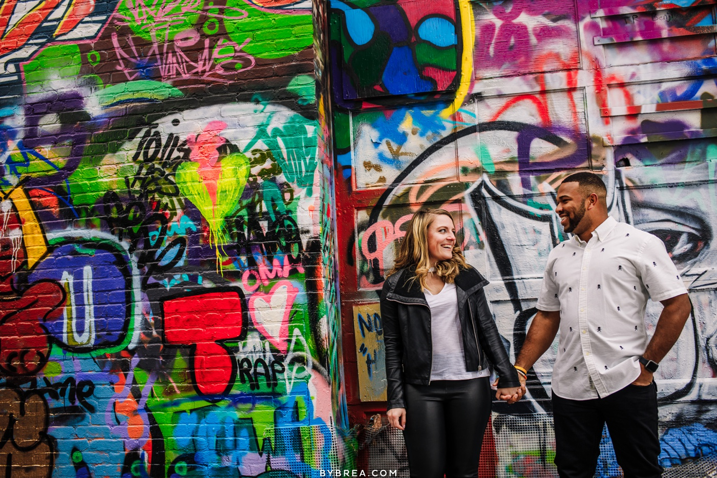 Photograph couples engagement Graffiti Alley Baltimore