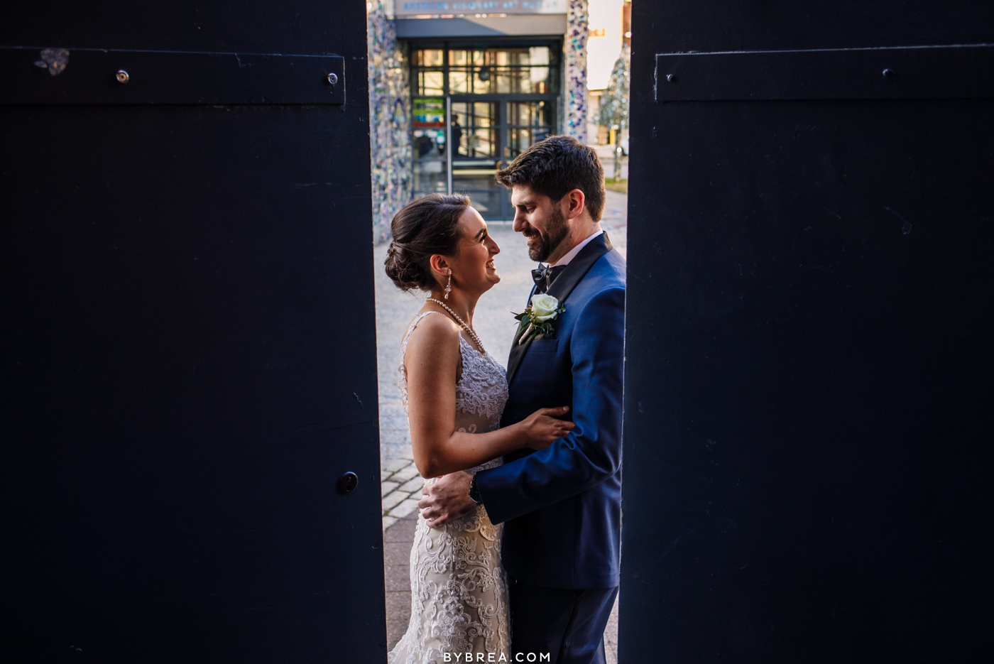 Bride and groom winter wedding AVAM Federal Hill Baltimore
