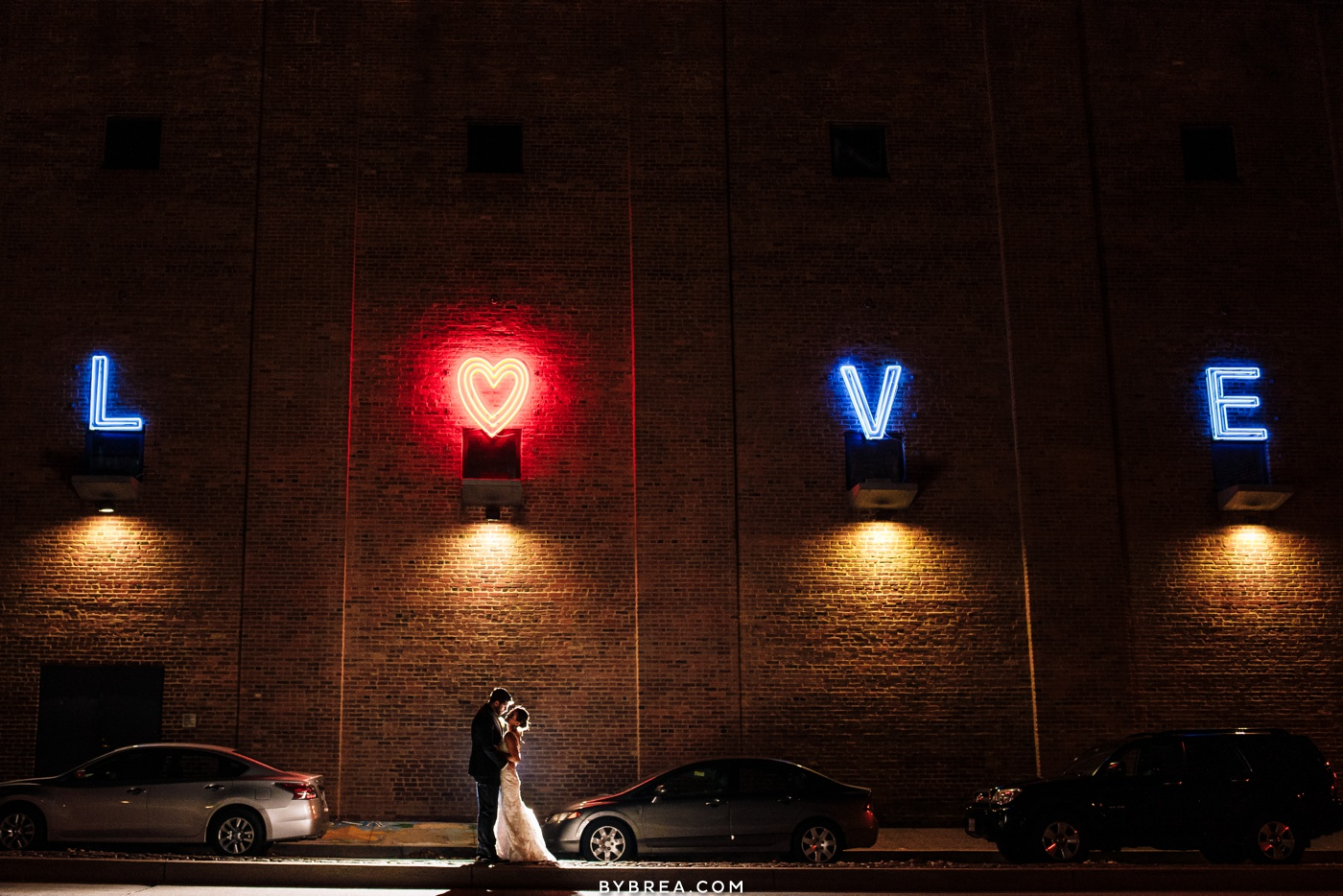Couples night time Love sign portrait Federal Hill Baltimore AVAM wedding