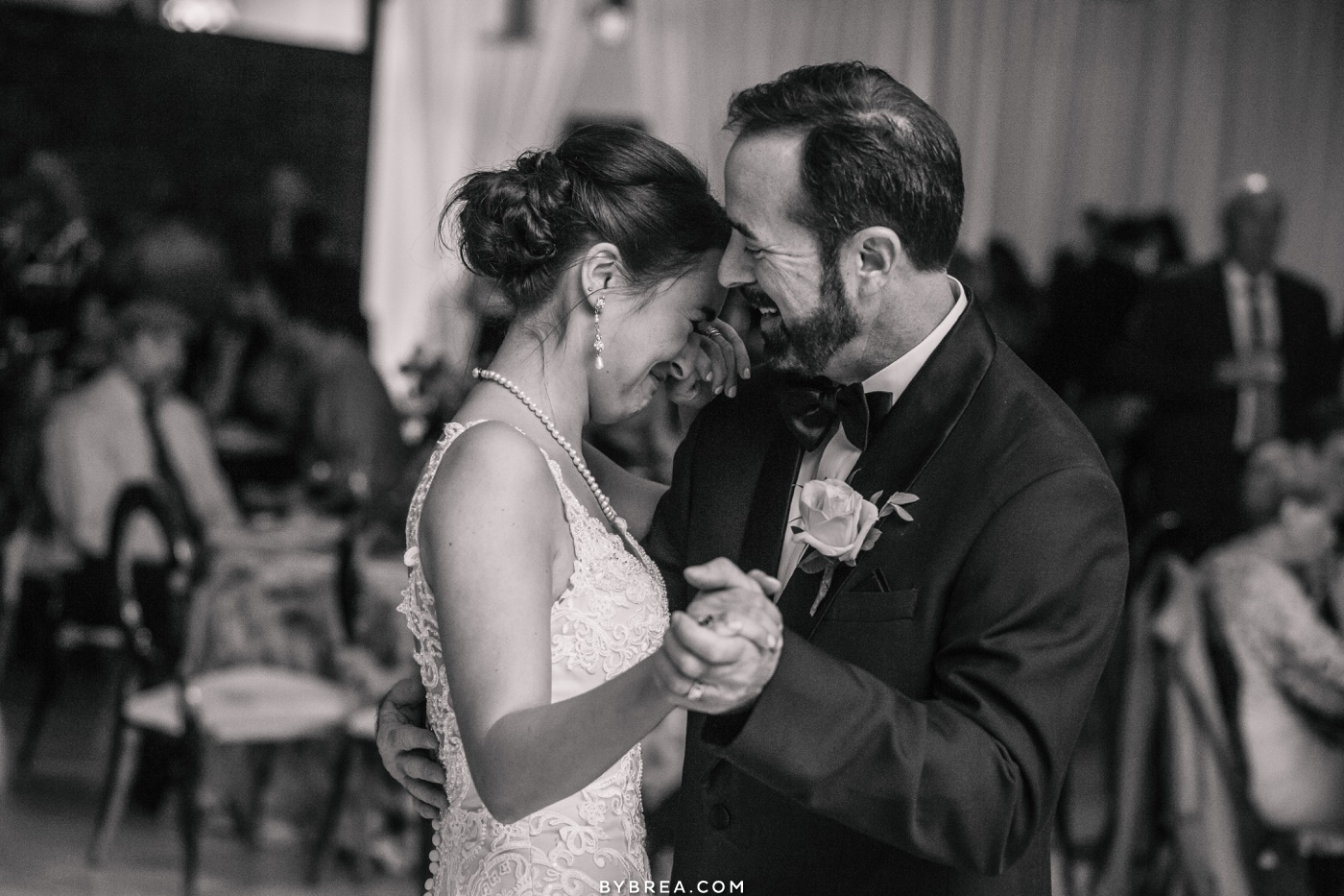 Baltimore wedding photo of emotional moment during father daughter dance