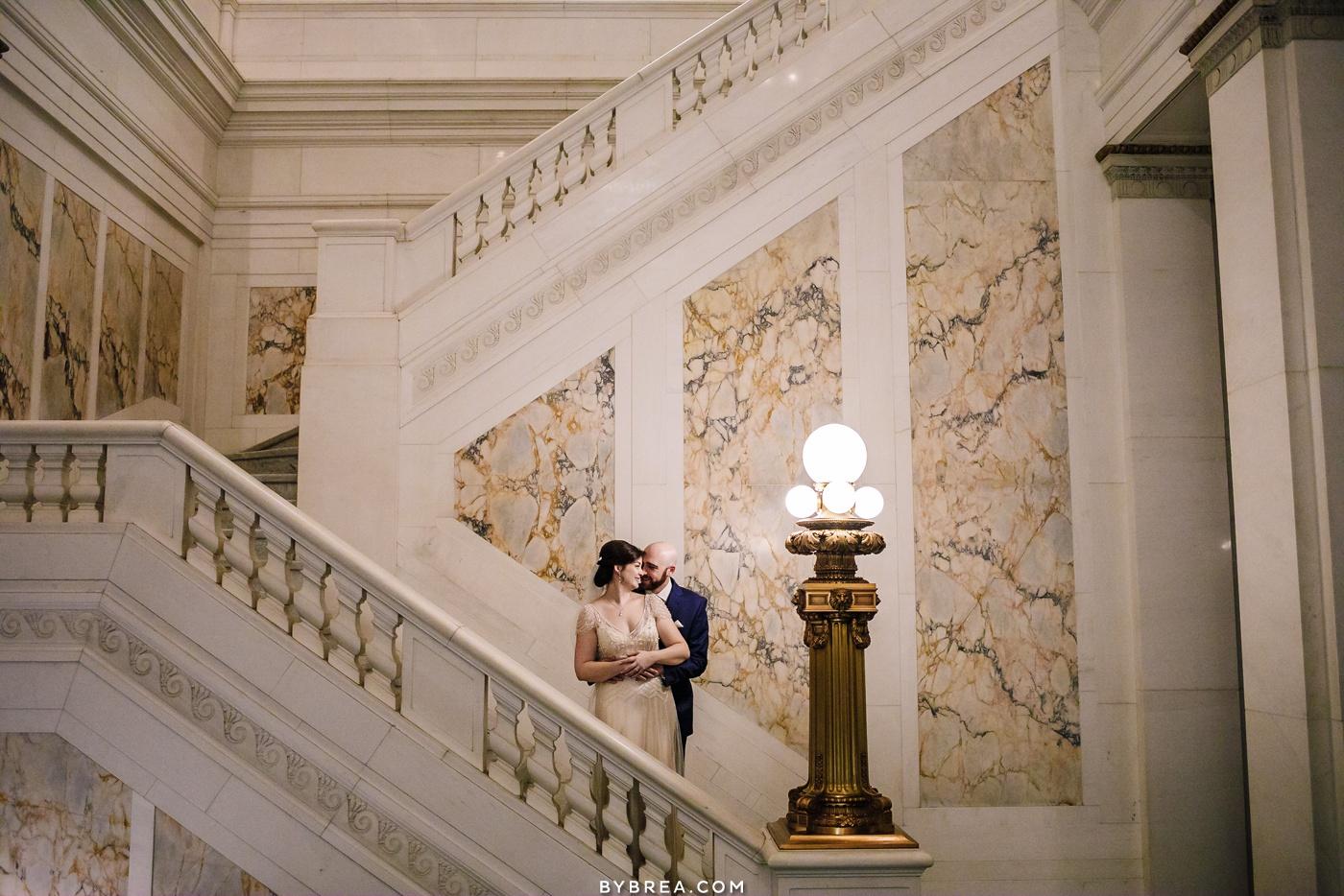 Staircase photo Hotel Monaco bride and groom portraits
