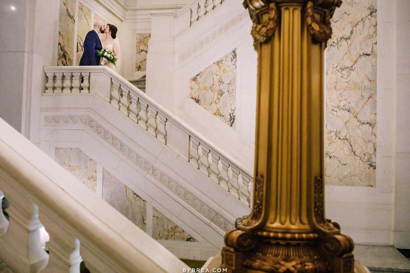 Couples portrait staircase photo Hotel Monaco wedding