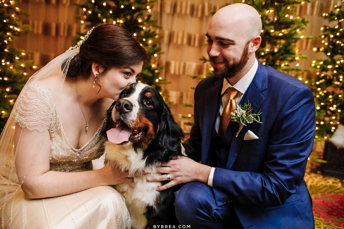 Hotel Monaco Winter wedding bride and groom portraits