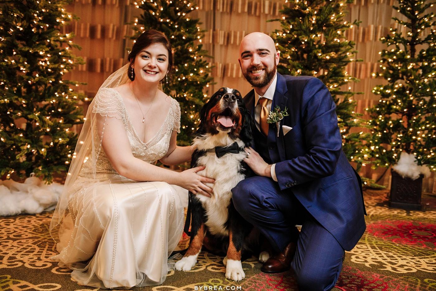 Bride and groom winter wedding Baltimore