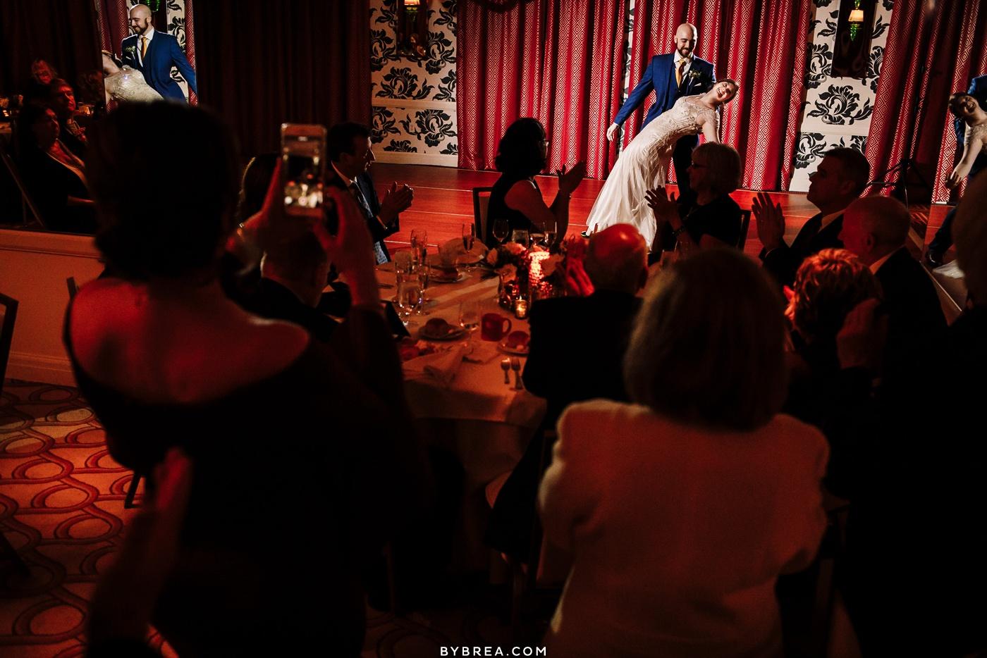 Bride and groom first dance winter wedding Kimpton Hotel Monaco