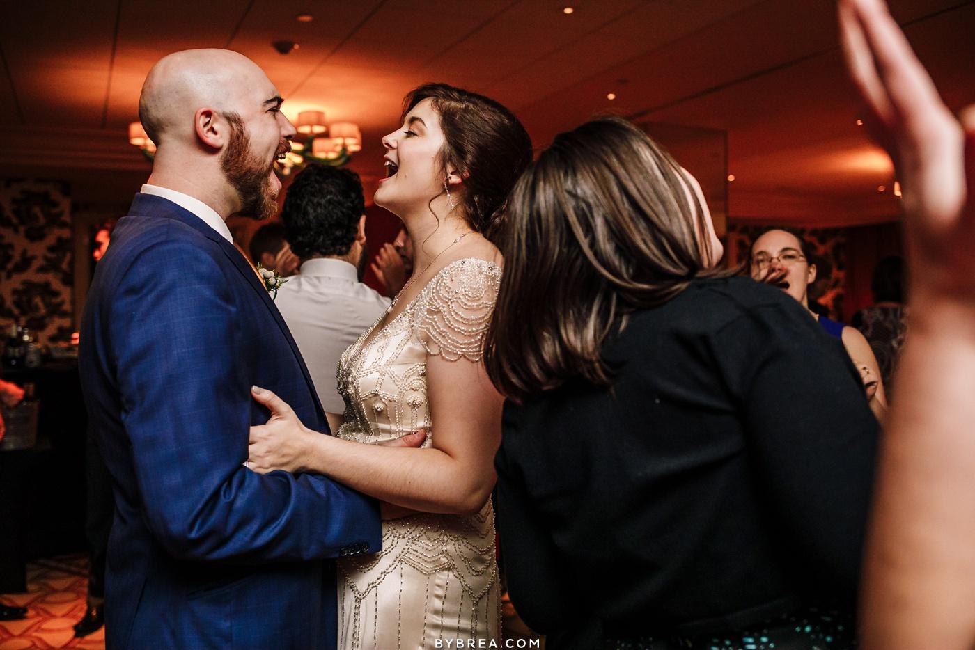 Photo of bride and groom dancing Baltimore wedding Hotel Monaco