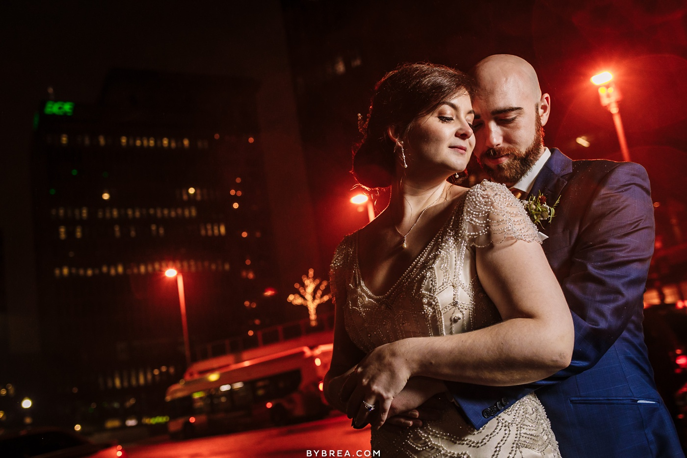 Evening couples portrait Baltimore wedding